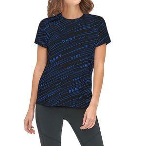DKNY woman's Sport Logo Print T Shirt Black Blue L